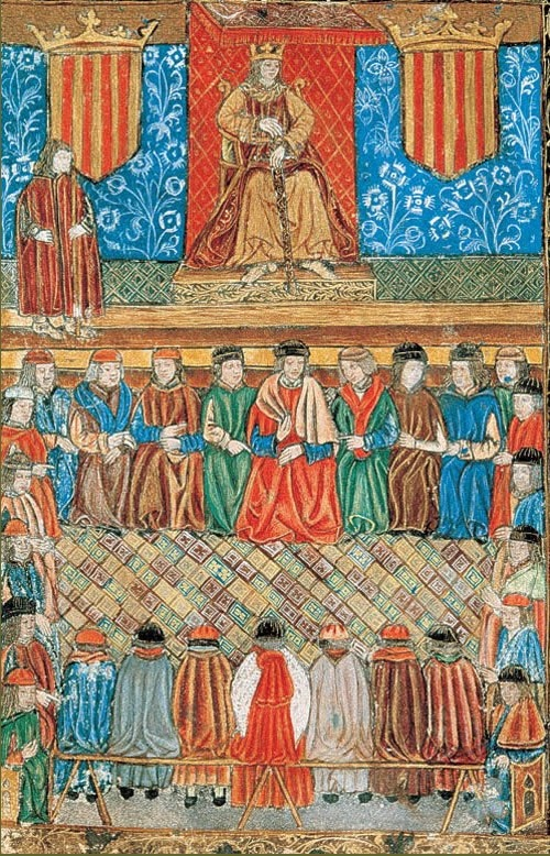 Boix que representa el rei Jaume I el Conqueridor (1208-1276) presidint una sessió de les Corts. (Incunable de les Constitucions de Catalunya. Arxiu de la Corona d'Aragó, Barcelona).