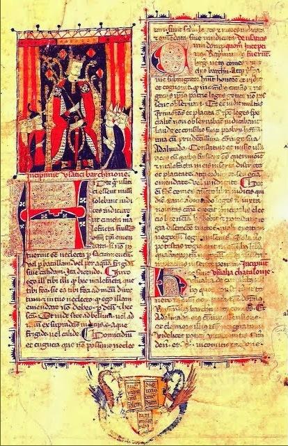 Ilustración del Libro de las Usanzas del Año 1173 (Llibre dels Usatges, 1173), primera compilación de Derecho, por el Conde Ramón Berenguer I de Barcelona.